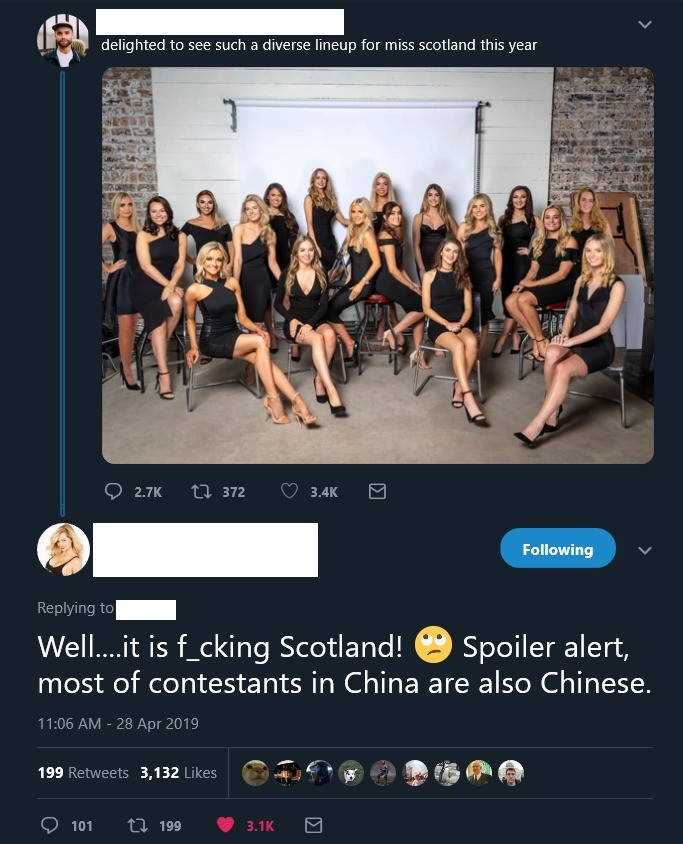 """Too many white women competing for Miss Scotland.. join list: DailyTumblr (982 subs)Mention History DailyTumblr.. Only white countries get the """"this is not diverse enough"""" treatment. """"Diversity"""" is just anti-white. You never see these call out china, or"""