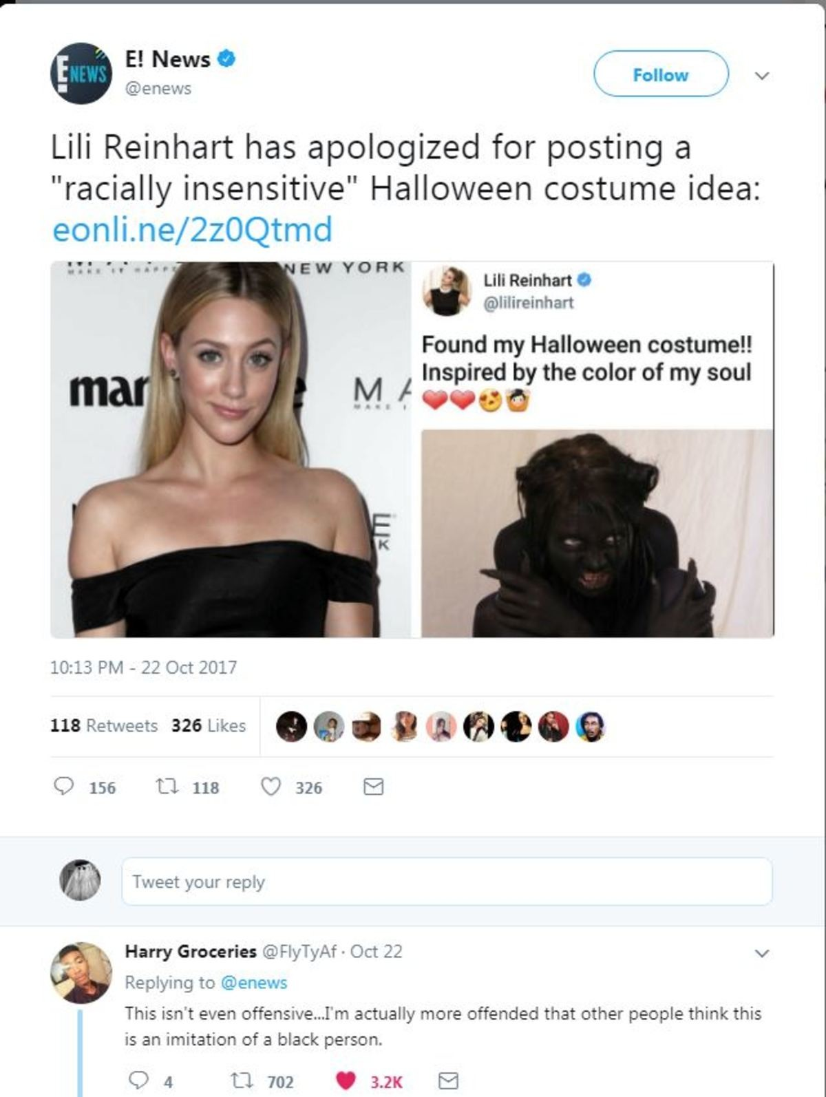 """Top ing KeK. . Lili Reinhard has apologized for posting a racially insensitive"""" Halloween costume idea: egroll. / EN YORK Found my Halloween mammal! Inspired by"""