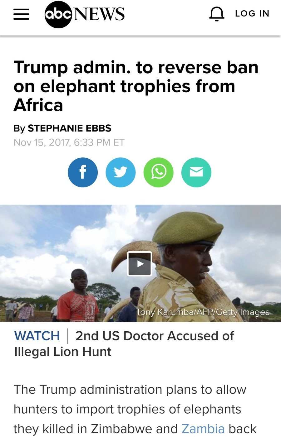 Trumps love them trophies. . Trump admin. to reverse ban on elephant trophies from Africa By STEPHANIE EBBS Tony (, Images WATCH l gnd us Doctor Accused of Ille