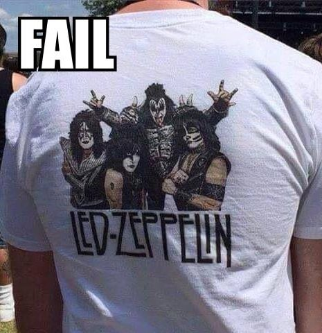 T-shirt Fail. .. How do you confuse Slipknot with Led Zeppelin?