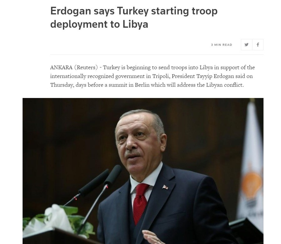 Turkey has deployed troops to libya. https://www.reuters.com/article/us-libya-security-turkey/erdogan-says-turkey-starting-troop-deployment-to-libya-idUSKBN1ZF1