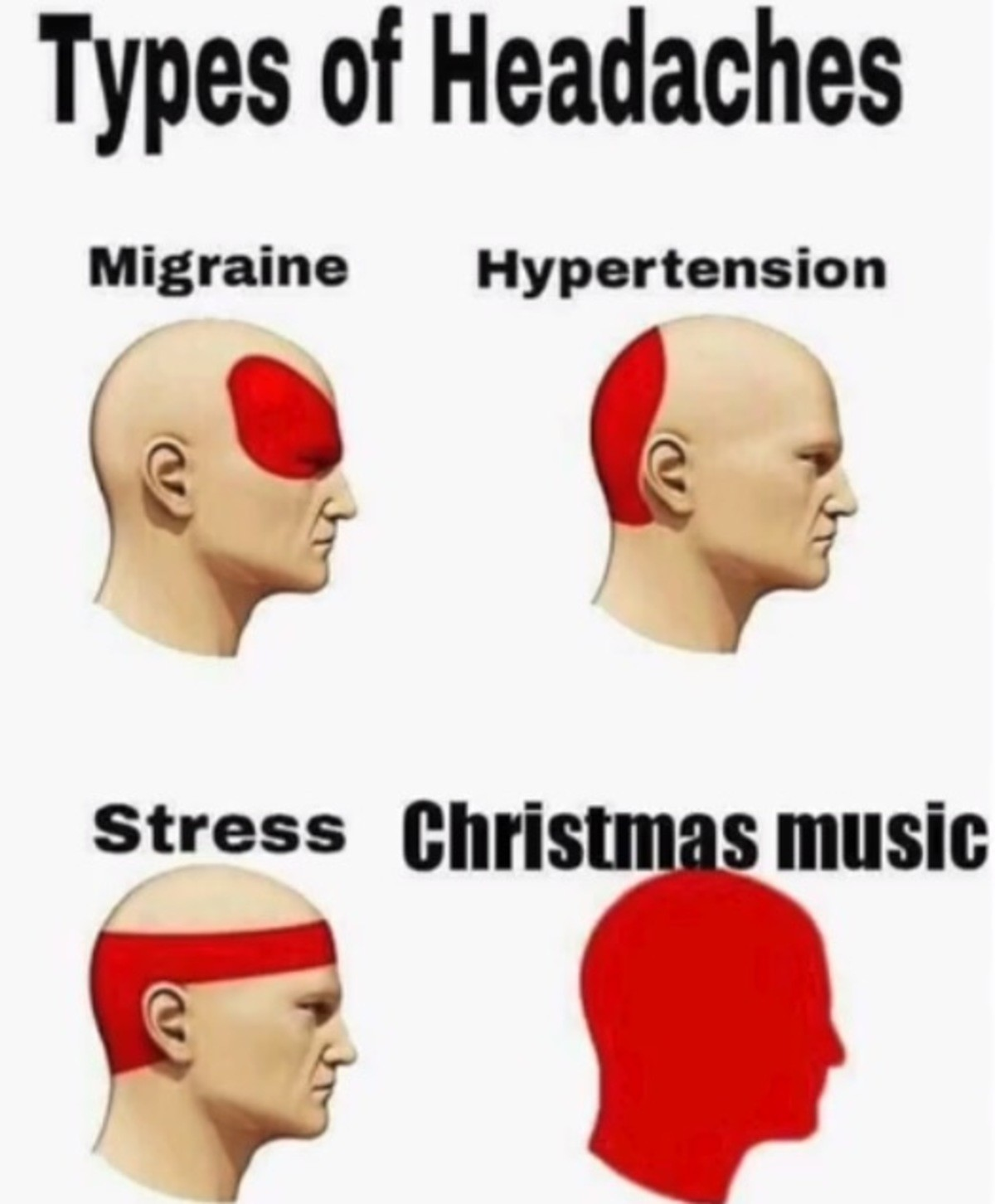 Types of headaches. Mary Christmas ... red from my christmas spirit you mean