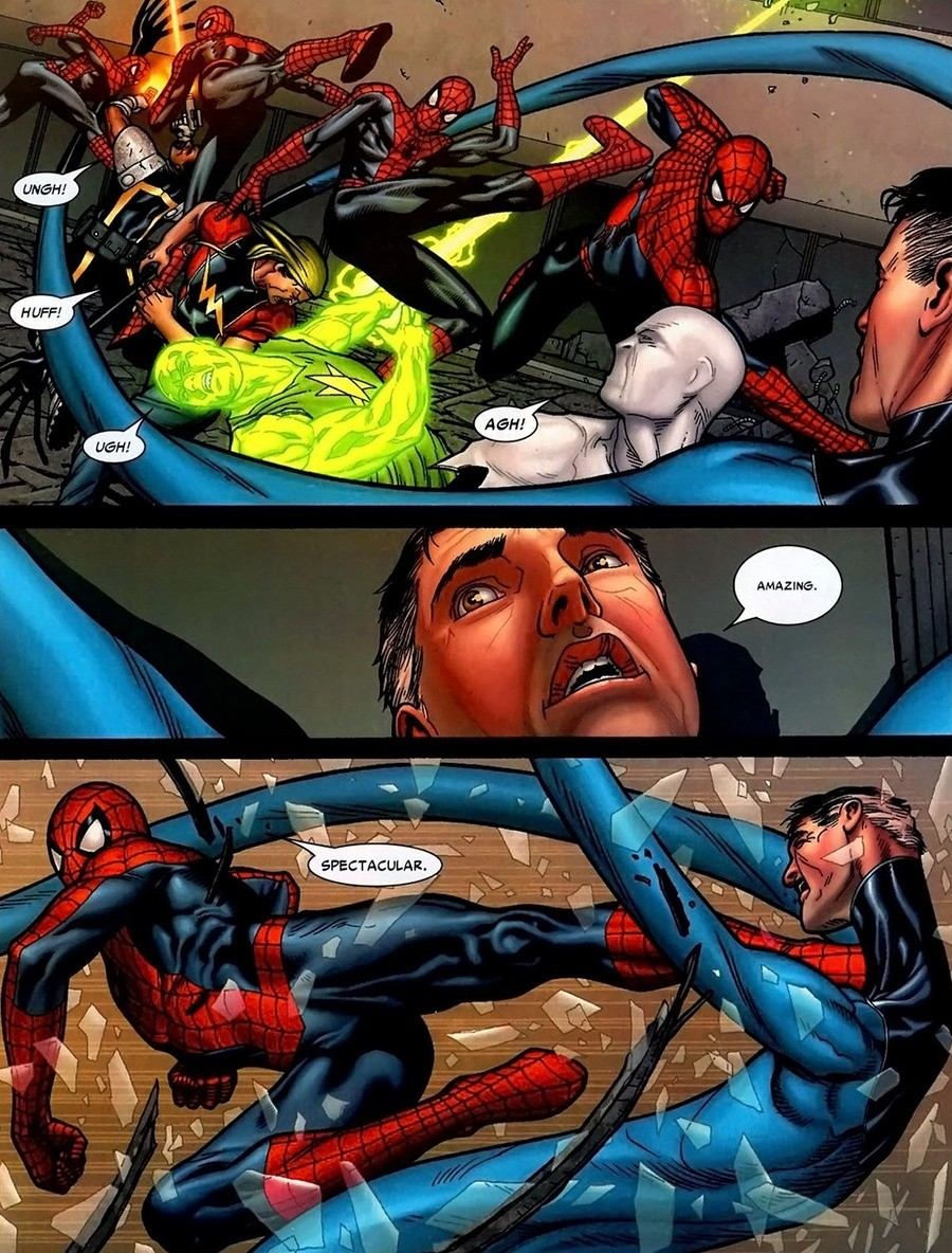 Unstoppable Spider-Man. Civil War,.. I love how Spidey can consistently take out any teams he's gone up against, he's beating the FF, the Xmen, the Avengers by himself every time Unless I'm remembe