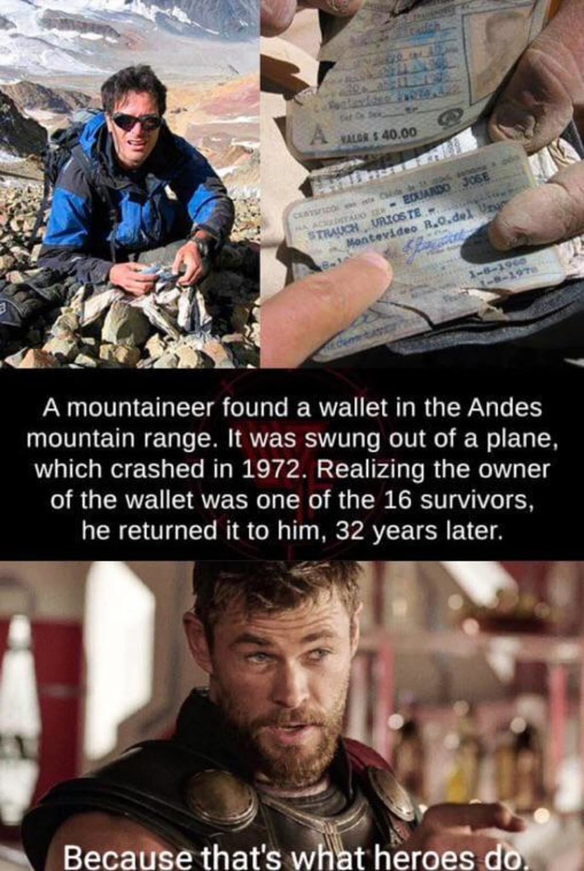 What heroes do. .. Why he waited 32-years before returning it. Weird.