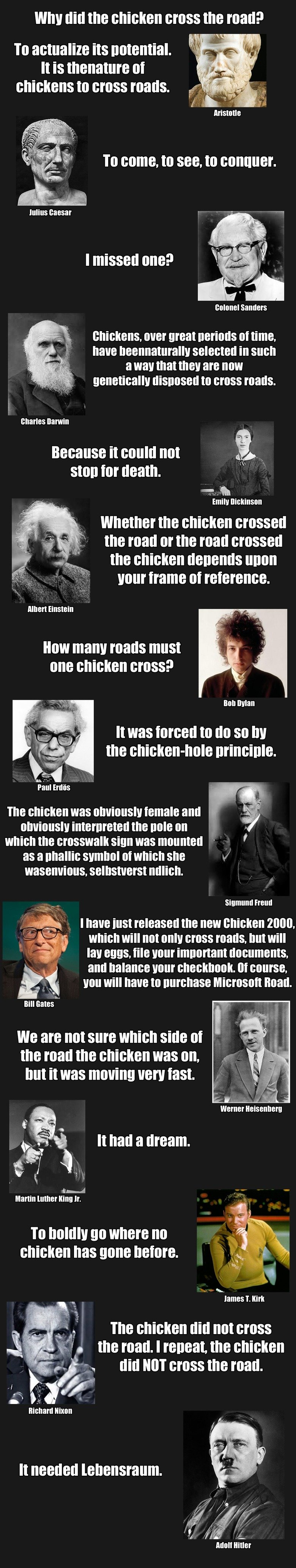 Why did the chicken cross the road?. Original answers and more can be found her: http://www.pathguy.com/chicken.htm I just picked my favourites... To activate the D