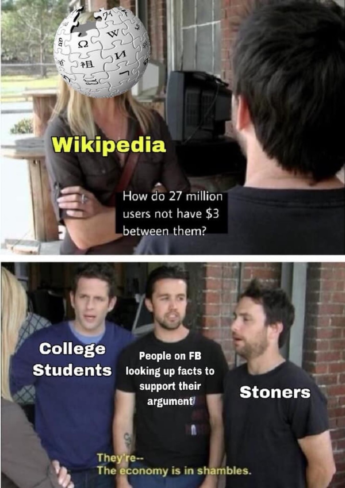 Wikipedia. .. Maybe people would be more generous if Wikipedia stopped being politically inclined