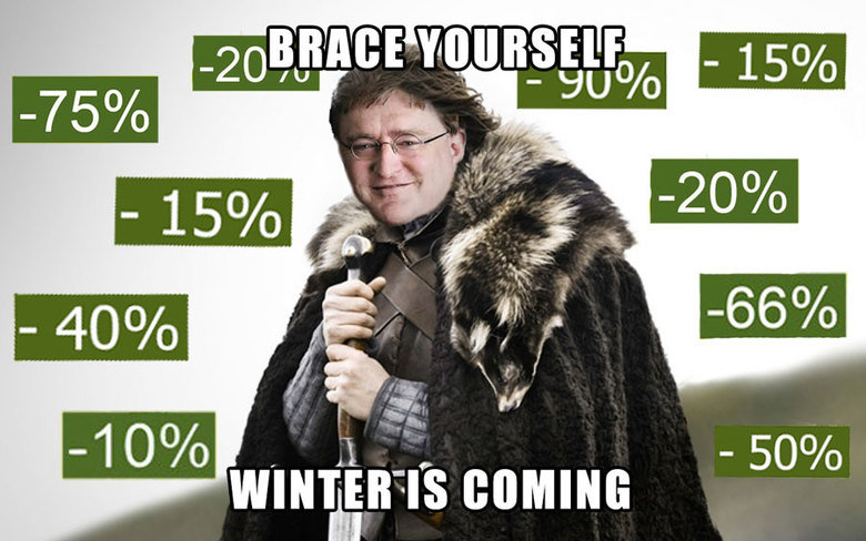 Winter is coming to steam. hope you like my first photoshop meme .