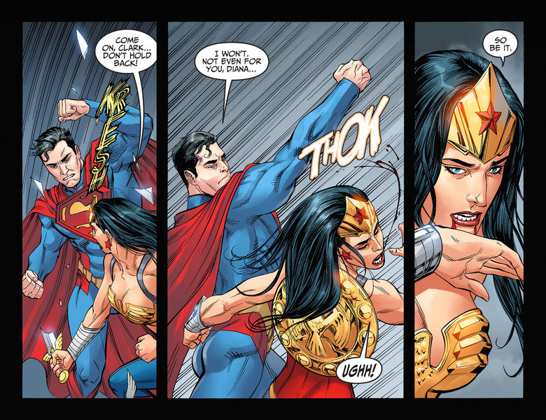 Wonder Rekt 2. So basically its a fight to the death and wonder woman isnt putting up with supermans anymore.. EVEN FOR NOT. wait, so a bullet will bounce harmless of his eyes without a dent. but ww fingers can make them bleed.