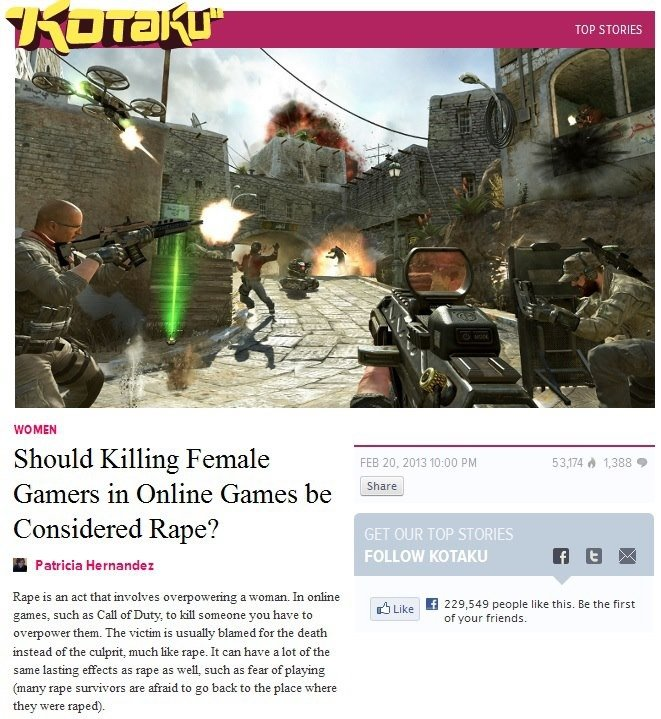 Wonderful.. What will they think up next?. WOMEN Should Killing Female Gamers in Online Games be Considered Rape? I Patricia Hernandez Rape is an act that invol