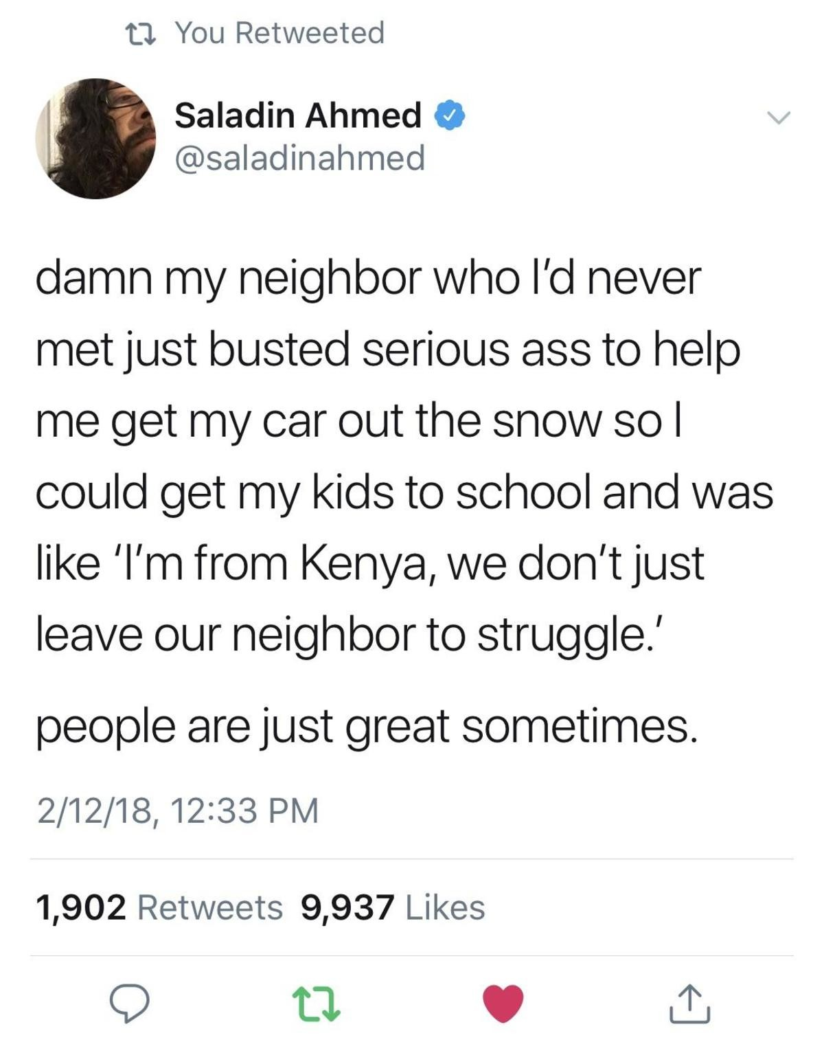 """Won't you be my neighbour?. join list: SoWholesome (186 subs)Mention History. ta, You Retweeted Saladin Ahmed 9 """"so/ r' t"""" ll/ neighbor lvl/ Inc) to r' lea/ fei"""