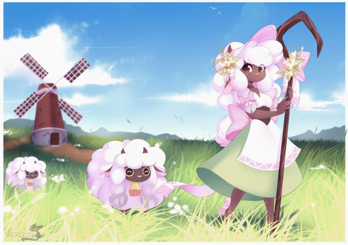 Wooloo Shepardess. That fine line between furry and monster girl. But it's cute, so it. give it consensual cuddles. Artist: https://www.deviantart.com/teranen.. if someone made a daily wooloo thing I'd follow the out of that