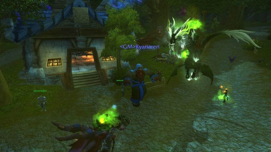 WoW, another blood plague. Picture of GM threatening to ban everyone in Goldshire on fire. https://en.wikipedia.org/wiki/CorruptedBloodincident#Brutallus_Burn F