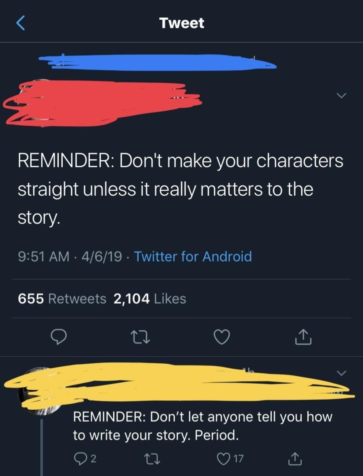 WTF. join list: DailyTumblr (984 subs)Mention History DailyTumblr.. Honestly other way around. Don't force a character to be gay, unless it really matters to the story. I have nothing against gay people, but a gay character that