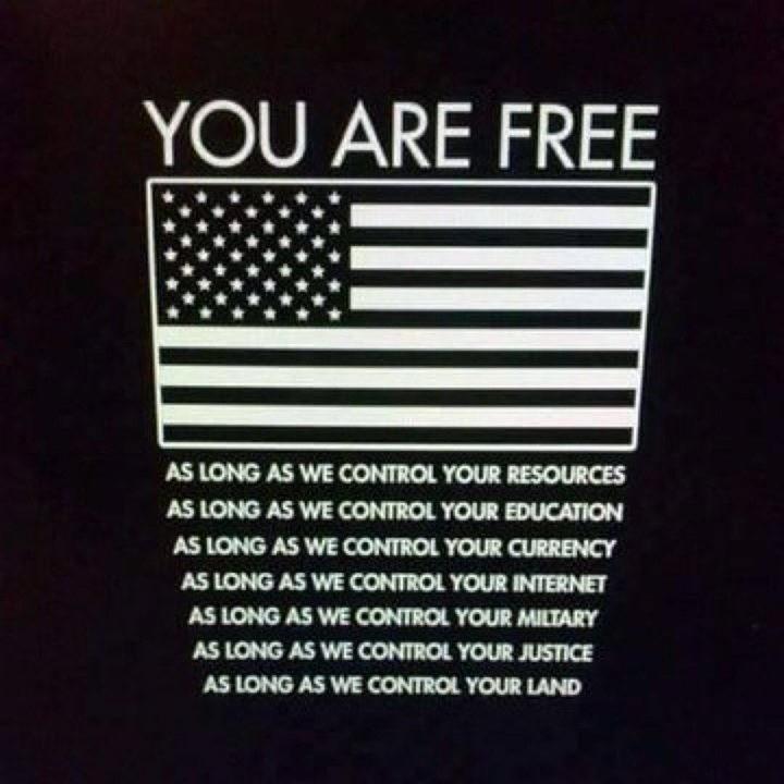 "You are free.. .. ""USA go away!"" USA leaves ""USA, plz..."""