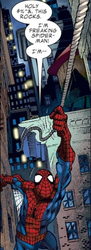 You're not Jim!. Hats off to you for not seeing race. Source: https://readcomiconline.to/Comic/Spider-Man-Peter-Parker-Back-in-Black/TPB-Part-1?id=138488.. He had forward momentum. He would've hit the wall of the building, and would've been able to climb up. Even if he didn't have spidey's grip power he had webslin