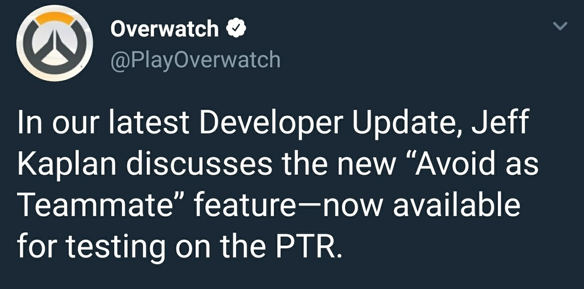:^(. I hope they make an achievement for being avoided by 1000 players. . Overwatch 9 v, available fty'' t testing C) the PTR.Cii) roryod! llr can i avoid mysel