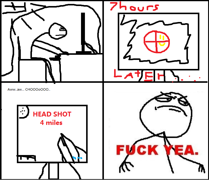Pro gamer. This happens alot to campers =D.. no rating button D:<